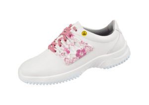 ESD white trainer with pink laces