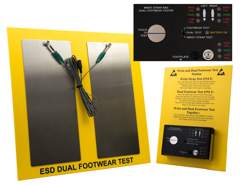 Dual Footwear and Wrist Strap Tester