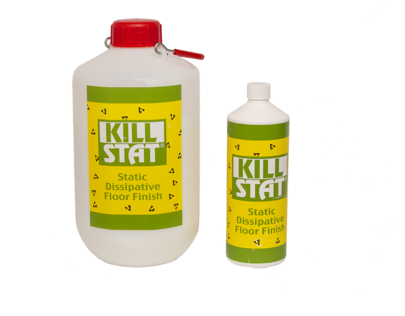 Killstat Floor Finish formulated using non-hazardous ingredients to provide a reliable static dissipative floor finish