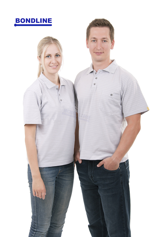 Man and Woman in Polo Shirt Gray