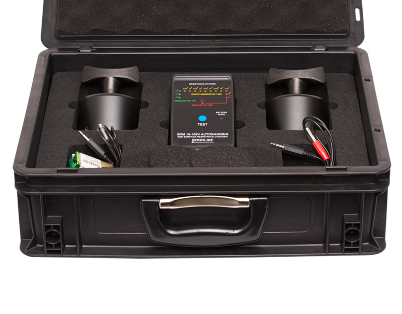 Surface resistivity kit for measuring surface resistivity and point to point resistance.