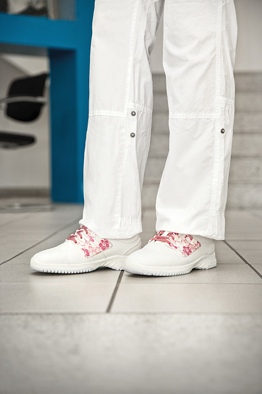 White ESD Trainers With Pink Laces Abeba 31766 - Bondline