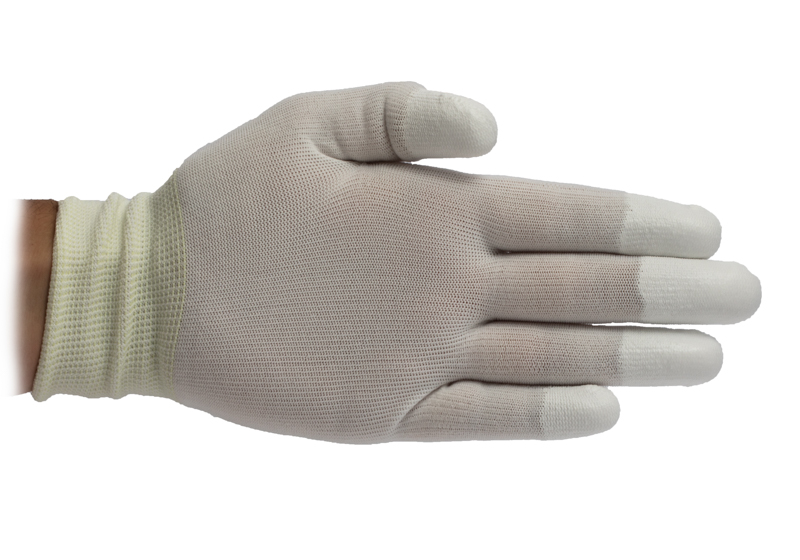 ESD Coated Tip Glove with Elastic Wrist - White