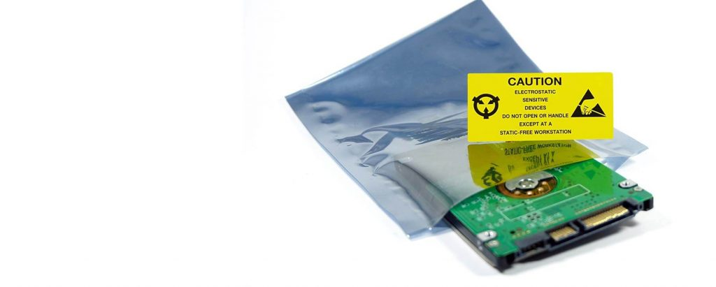 An anti-static bag with a sensitive component half in