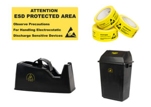 ESD Office, Signs and Labels - ESD Labels, Antistatic Tape Dispenser, ESD Waste Bin, ESD Warning Sign