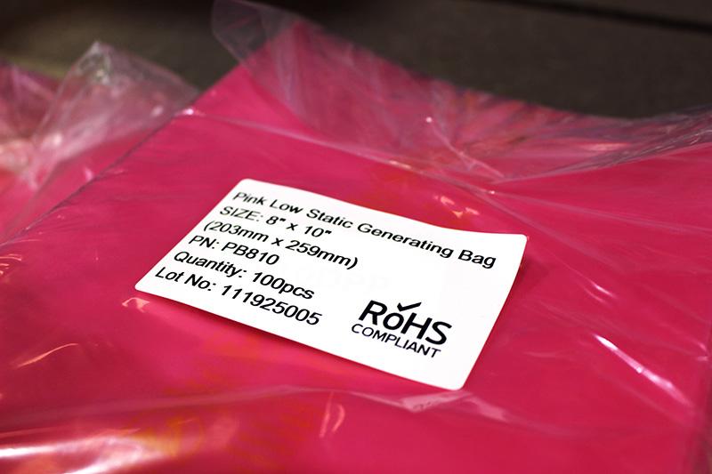 Pink Antistatic Bag with Sticker Bondline